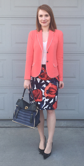 Blazer, GAP (thrifted); top, Joe Fresh; skirt, Anthropologie (via eBay); shoes, Stuart Weitzman; bag, YSL