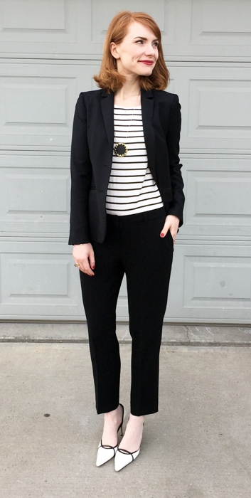 Blazer, J. Crew (thrifted); top, J. Crew Factory; pants, Aritzia (thrifted); shoes, Manolo Blahnik (thrifted)