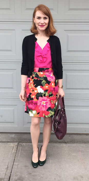 Dress, Anthropologie (thrifted); cardigan, J. Crew Factory; shoes, Ivanka Trump; bag, MbMF
