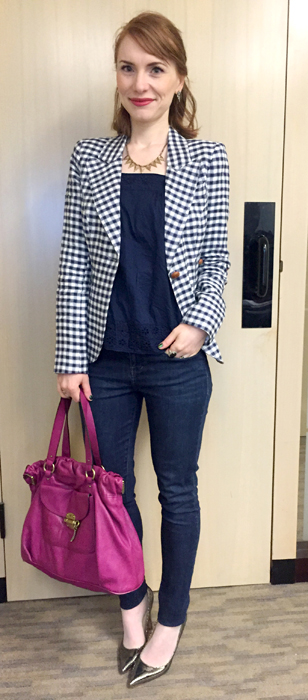 Blazer, Smythe; top, J. Crew (thrifted); jeans, William Rast (thrifted); shoes, Ivanka Trump; bag, Mulberry (via eBay)