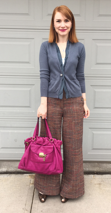 Cardigan, Nougat (thrifted); top, BR (thrifted); pants, Anthropologie (thrifted); shoes, Stuart Weitzman (thrifted); bag, Mulberry