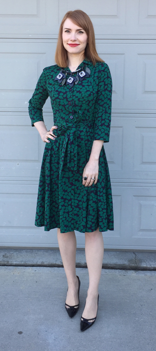 Dress, Boden (swap); necklace, MaxMara; shoes, Jimmy Choo (thrifted)