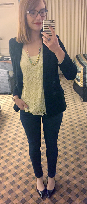 Blazer, Anthropologie (thrifted); top, J. Crew Factory; jeans, William Rast (thrifted); shoes, Stuart Weitzman