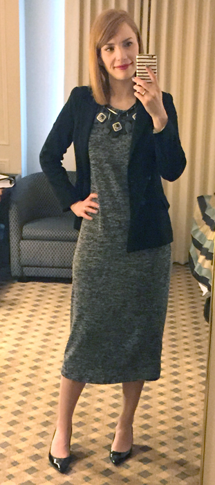 Blazer, Anthropologie; dress, Joe Fresh; shoes, Stuart Weitzman