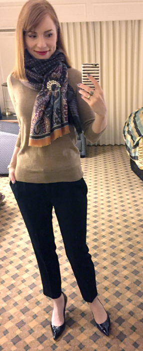 Sweater, J. Crew Factory; pants, Babaton (thrifted); scarf, F&F (thrifted); brooch, thrifted