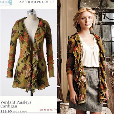 Guinevere Verdant Paisleys cardigan ($10)