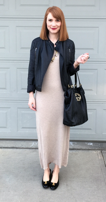 Jacket, Joe Fresh (thrifted); dress, Eileen Fisher (thrifted); shoes, Ferragamo (via Etsy); bag, Gucci