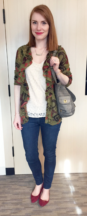 Cardigan, Anthropologie (thrifted); top, LOFT (swap); jeans, William Rast (thrifted); shoes, Ellen Tracy; bag, YSL