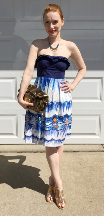 Dress, Anthropologie; necklace, J. Crew Factory; shoes, Giuseppe Zanotti; bag, Mulberry