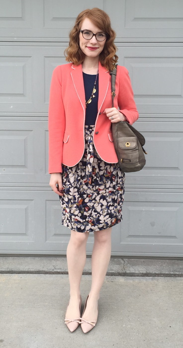 Blazer, Gap (thrifted); top, Joe Fresh; skirt, Boss (via consignment); shoes, Prada; bag. YSL