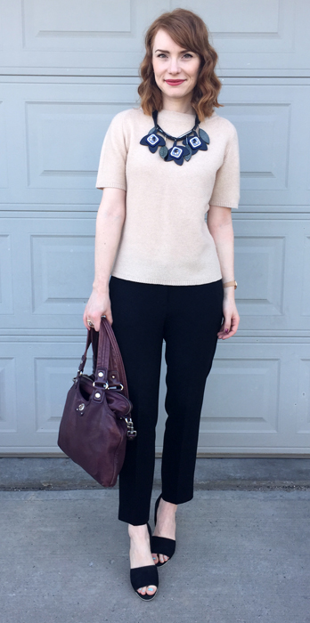 Sweater, Judith & Charles (consignment); pants, Babaton (thrifted); shoes, Vince; necklace, MaxMara; bag, MbMJ