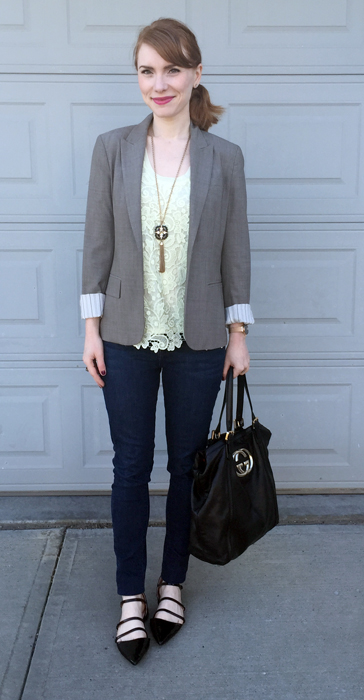 Blazer, Theory (thrifted); top, J. Crew Factory; jeans, William Rast (thrifted); shoes, Zara; bag, Gucci