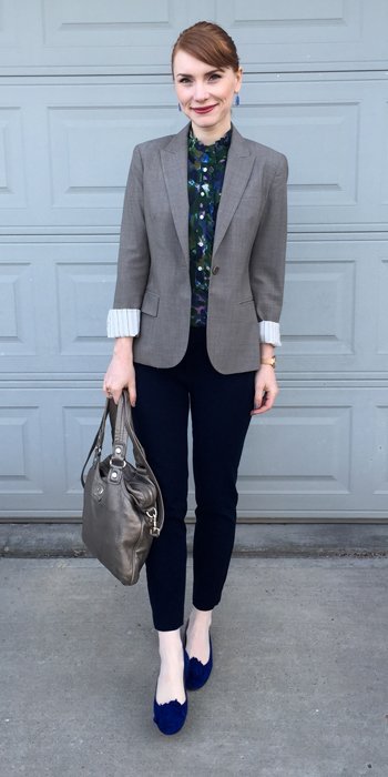 Top, J. Crew (via consignment); blazer, Theory (thrifted); pants, BR (thrifted); shoes, Manolo Blahnik (thrifted); bag, MbMJ
