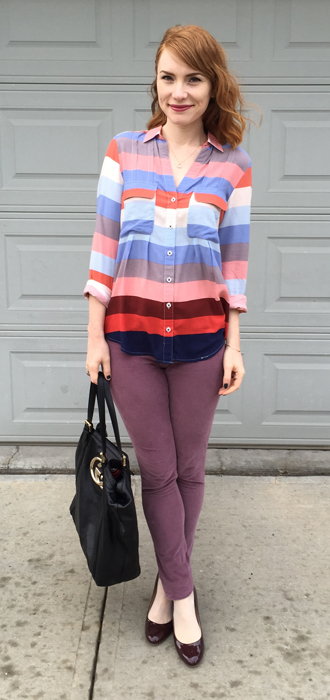 Top & pants, Anthropologie (thrifted); shoes, J. Crew; bag, Gucci