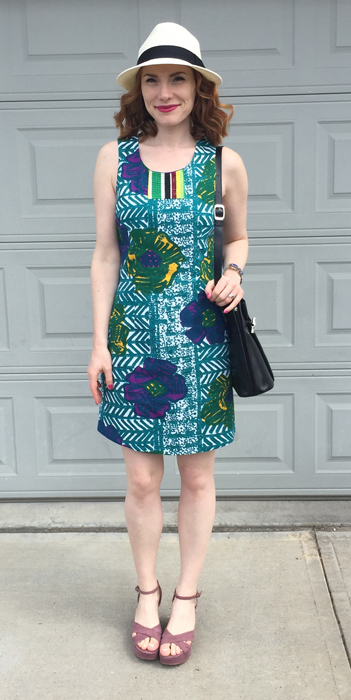 Dress, Anthro (thrifted); shoes, Pour La Victoire; bag, Longchamp (thrifted); hat, Aritzia