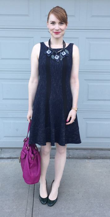Dress, Nanette Lepore (thrifted); necklace, MaxMara; shoes, Ivanka Trump; bag, Mulberry