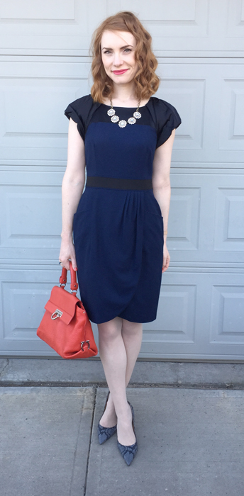 Dress, Club Monaco (thrifted); necklace, J. Crew Factory; shoes, Nine West (thrifted); bag, Ferragamo