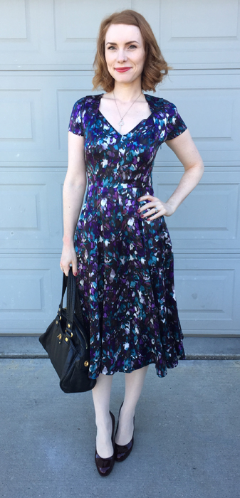 Dress, LK Bennett (thrifted); shoes, Nine West (thrifted); bag, MbMJ (via eBay)
