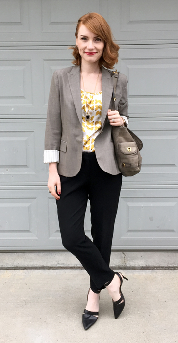 Blazer, Theory; top, Tulle; pants, Babaton (all thrifted); bag, YSL; shoes, Nine West