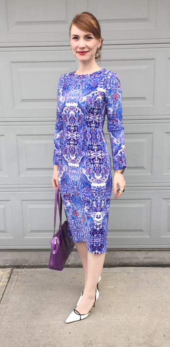 Dress, Maggy London; shoes, Manolo Blahnik; bag, Arcadia (all thrifted)