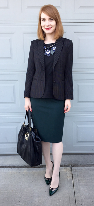 Blazer, DKNY; top, Theory; skirt, MaxMara (all thrifted); shoes, Jimmy Choo; bag, Gucci; necklace, MaxMara