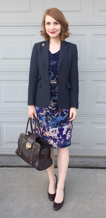 Dress, Anthropologie (thrifted); blazer, J. Crew Factory; shoes, J.Crew; bag, Mulberry
