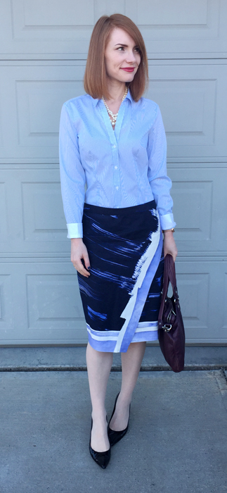 Shirt, H&M (gifted); skirt, Banana Republic; shoes, Stuart Weitzman; bag, MbMJ
