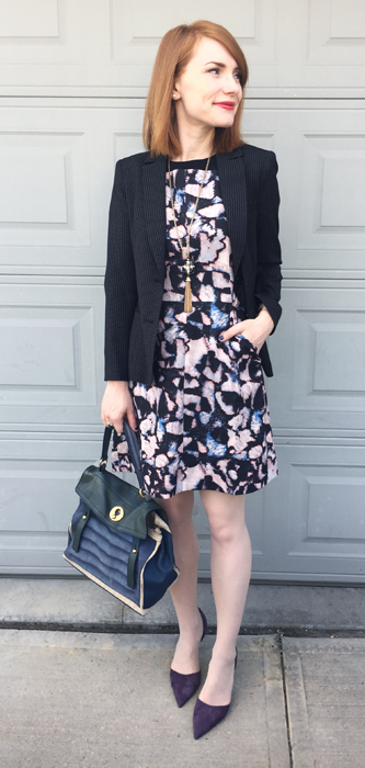 Dress, Club Monaco (thrifted); blazer, DKNY (thrifted); necklace, BR; shoes, J. Crew; bag, YSL
