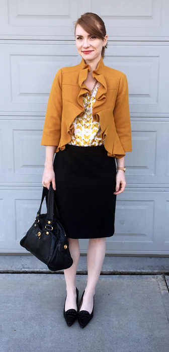 Top & jacket, Anthropologie; skirt, J. Crew; shoes, Oscar; bag, MbMJ