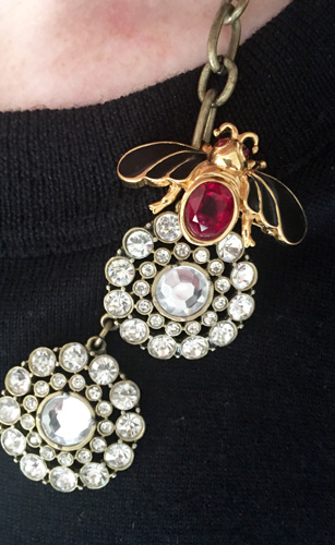 J. Crew Factory necklace & vintage D'Orlan brooch