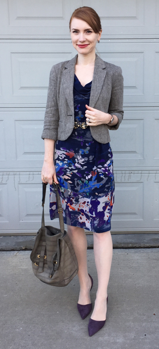 Dress & blazer, Anthropologie (thrifted); belt, BCBG (thrifted); shoes, J. Crew; bag, YSL (via eBay)
