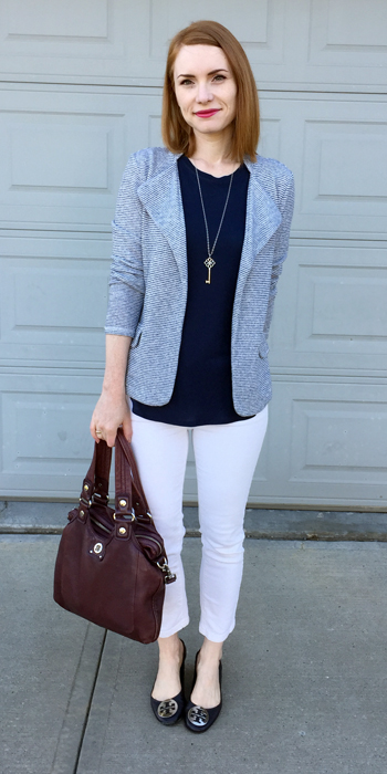 Jacket & jeans, Anthropologie (thrifted); top, Joe Fresh; shoes, ory Burch (via consignment); bag, MbMJ