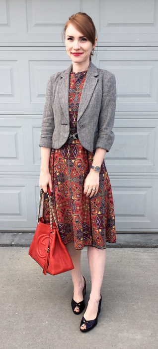 Dress, Zara (thrifted); blazer, Anthropologie (thrifted); belt, BCBG; shoes, Stuart Weitzman (thrifted); bag, Gucci (via consignment)