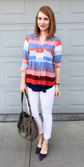 Top, Maeve (thrifted); jeans, Pilcro (thrifted); shoes, J. Crew; bag. YSL (via eBay)