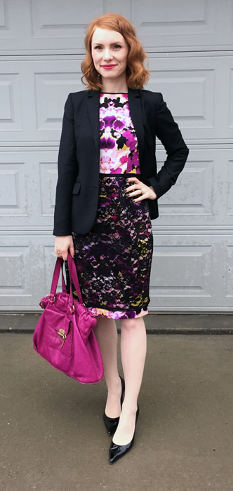 Dress, Maggy London (thrifted); blazer, J Crew (thrifted); shoes, Stuart Weitzman; bag, Mulberry (via eBay)