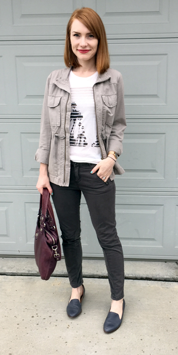 Jacket, J. Crew (via consignment); top, J. Crew Factory; pants, Pilcro (thrifted); shoes, Kelsi Dagger (thrifted); bag, MbMJ