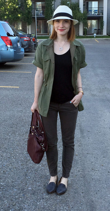 Jacket, Club Monaco (thrifted); top, Gap (thrifted); pants, Pilcro; hat, Aritzia