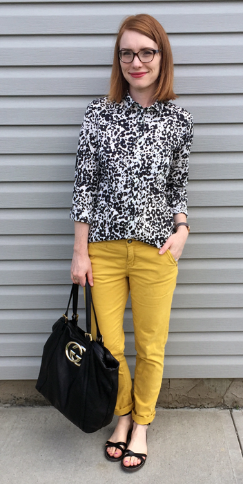 Shirt, J. Crew (via consignment); pants, Pilcro (gifted); shoes, J. Crew Factory; bag, Gucci