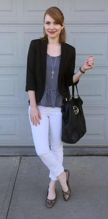 Blazer, Topshop (thrifted); top, Gap; pants, Pilcro (thrifted); shoes, Ferragamo (gifted); bag, Gucci