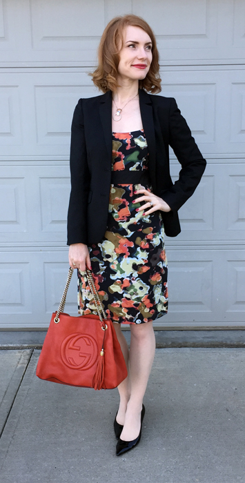 Dress, Moulinette Soeurs (thrifted); blazer, J. Crew (thrifted); shoes, Stuart Weitzman; bag, Gucci