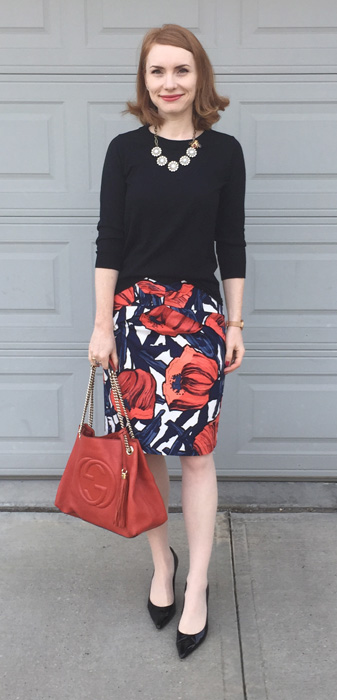 Skirt, Anthropologie (via eBay); sweater, J. Crew Factory; shoes, Stuart Weitzman; bag, Gucci (via consignment)