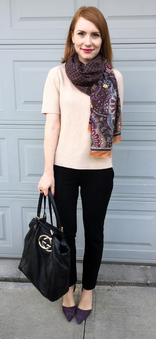 Sweater, Judith & Charles (via consignment); scarf, F&F (thrifted); pants, DVF (thrifted); shoes, J. Crew; bag. Gucci