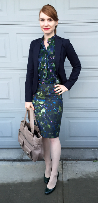 Blouse & skirt, J. Crew (via consignment); blazer, Theory (thrifted); shoes, IT; bag, Marc Jacobs