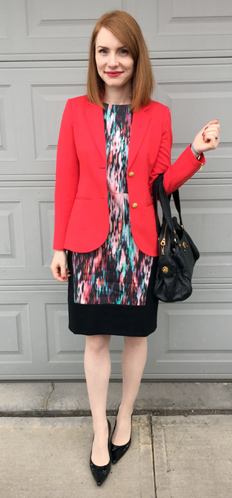 Blazer, Theory (via consignment); dress, Judith & Charles (thrifted); shoes, Stuart Weitzman; bag, Marc Jacobs