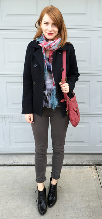 Coat, Ben Sherman (thrifted); top, Gap; pants, Pilcro (thrifted); scarf, no brand (thrifted); shoes, Clarks; bag, Fossil (thrifted)