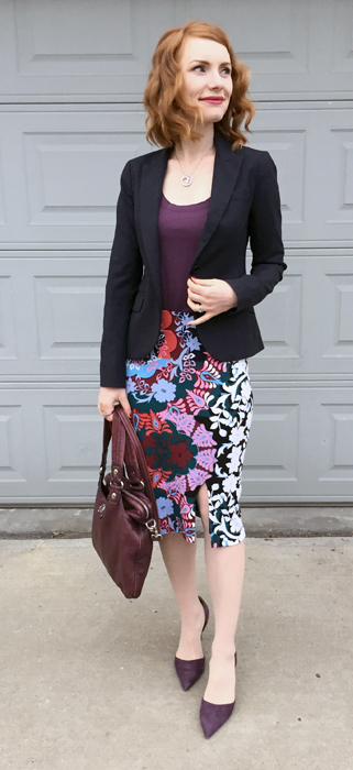 Blazer, Theory (thrifted); top, Theory (thrifted); skirt, Maeve (thrifted); shoes, J. Crew; bag, MbMJ