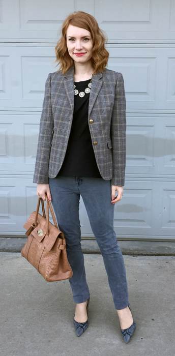 Blazer, J. Crew (thrifted); top, Theory (thrifted); jeans, J Brand (thrifted); shoes, Nine West (thrifted); bag, Mulberry