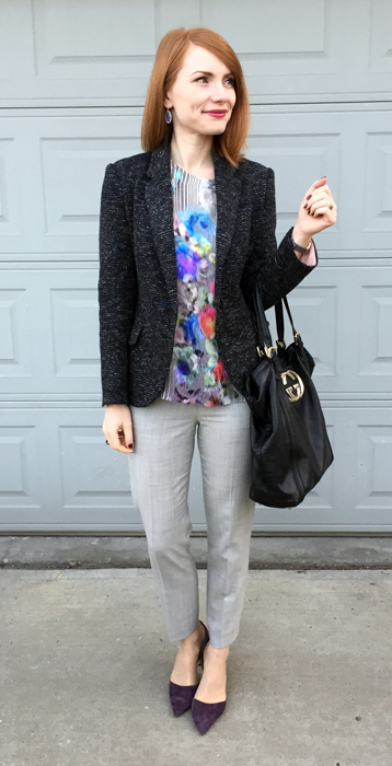Blazer, Cartonnier (thrifted); top, Nanette Lepore (thrifted); pants, J. Crew (thrifted); shoes, J. Crew; bag, Gucci