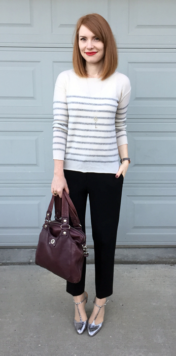 Sweater, Vince (thrifted); pants, Aritzia (thrifted); shoes, Enzo Angiolini; bag, MbMJ
