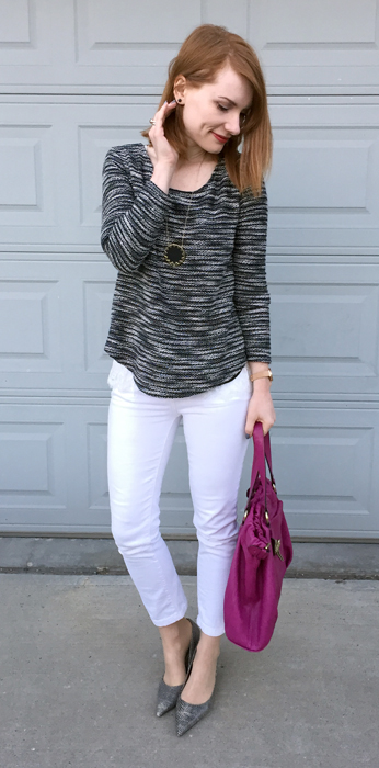 Sweater, Design Lab (thrifted); jeans, Anthropologie (thrifted); shoes, Nine West (thrifted); necklace, House of Harlow; bag, Mulberry (via eBay)